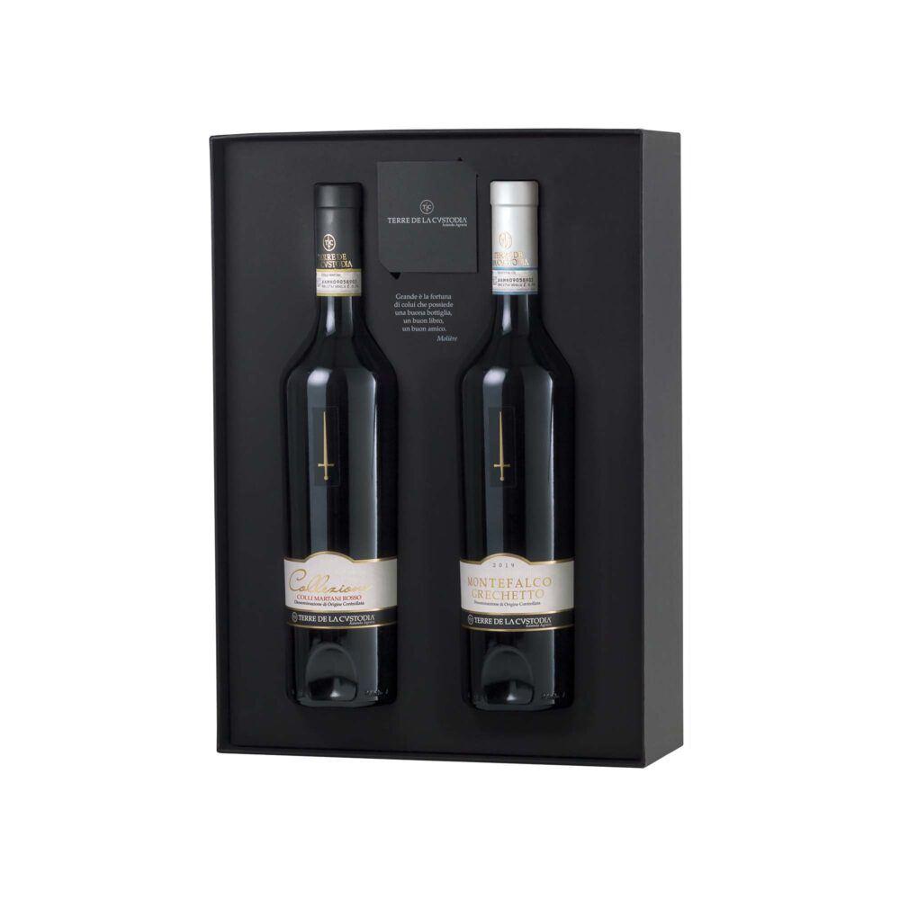 gift-box-with-red-and-white-wine-tere-de-la-custodia-montefalco-grechetto